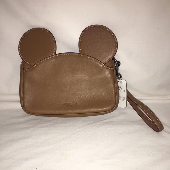 Disney X Coach Mickey Mouse Ears Leather Wristlet